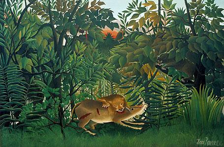 Der hungrige L�we - Henri Rousseau