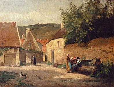 Pissarro, Camille - Stra�enecke im Dorf - Camille Pissarro