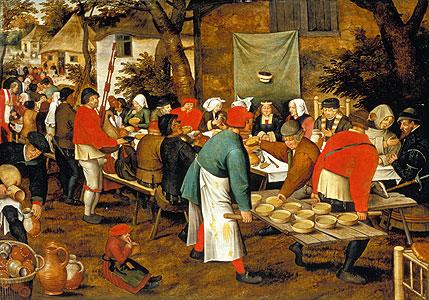 Bauernmahlzeit vor einer Schänke - Pieter Brueghel