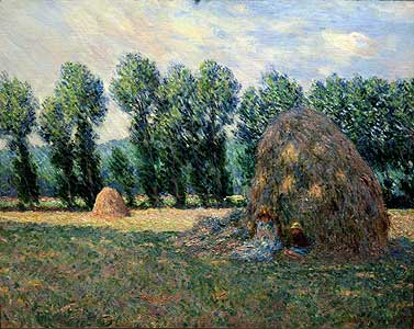Im Schatten der Strohhaufen - Claude Monet