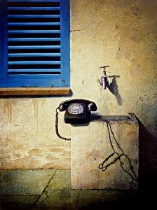 Stilleben mit Telefon und fließend Wasser - Siegfried Zademack