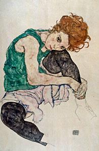 Sitzende Frau mit hochgezogenem Knie - Egon Schiele