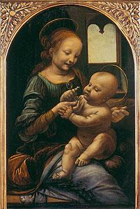 Madonna Benua - Madonna mit der Blume) - Leonardo da Vinci) auf