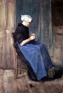 Strickende Frau aus Scheveningen - Vincent van Gogh