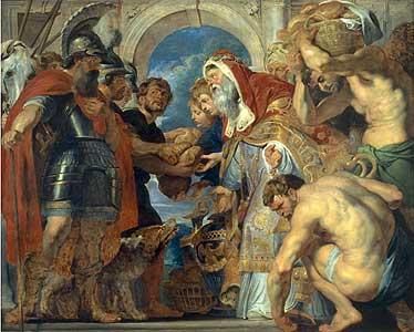 Die Begegnung Abrahams und Melchisedechs - Peter Paul Rubens) a