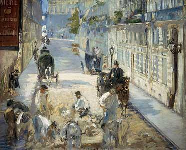 Die Rue Mosnier mit Pflasterern - Edouard Manet