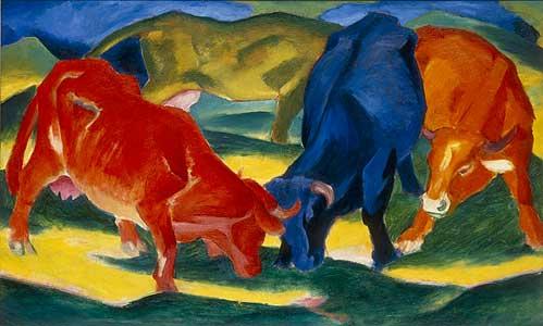 Kämpfende Kühe - Franz Marc