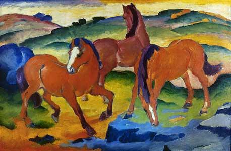 Die roten Pferde - Franz Marc