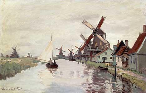 Holl�ndische Landschaft mit Windm�hlen - Claude Monet