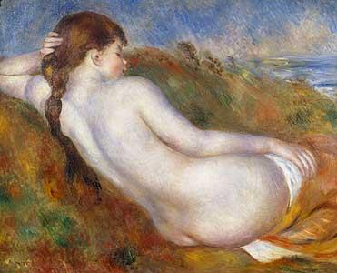 Nacktes Mädchen, im Dünengras ruhend - Auguste Renoir